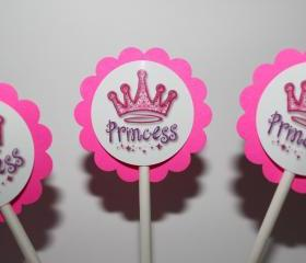 Princess Crown Party Cupcake Toppers