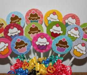 PERSONALIZED Cupcake Party MINI Cupcake Toppers - Custom