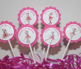 Personalized ANGELINA BALLERINA Cupcake Party Toppers Picks- Custom