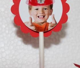 PHOTO PERSONALIZED Fireman Hat Cupcake Party Toppers - Custom