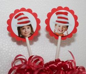 PHOTO PERSONALIZED The Cat in The Hat Inspired Cupcake Party Toppers - Custom